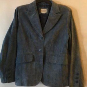 Suede Woman Blazer Jacket Denim Blue